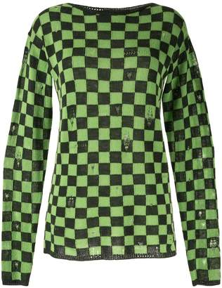 Marc Jacobs checkered distressed style jumper