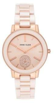 Anne Klein Rose Goldtone, Ceramic & Swarovski Crystal Bracelet Watch