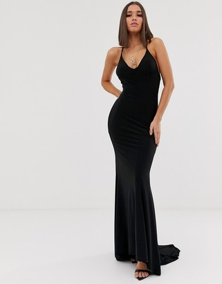 Club L London cross back fishtail maxi in black