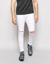 Pull&bear Super Skinny Jeans In White With Rips