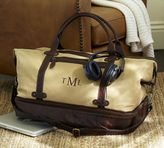 Pottery Barn Saddle Leather & Canvas Weekender Bag