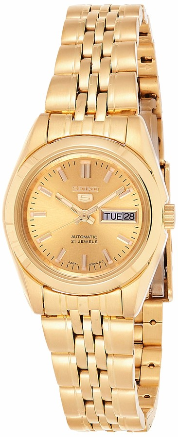 Seiko Women S Syma38k 5 Automatic Gold Dial Gold Tone Stainless Steel Watch Shopstyle