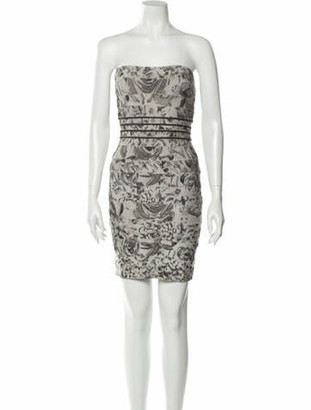 Herve Leger Printed Mini Dress Silver