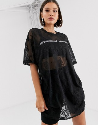 Criminal Damage lace t-shirt dress with reflective logo-Black