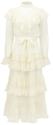 Zimmermann Glassy Ruffled Tiered Silk-chiffon Midi Dress - Womens - Ivory