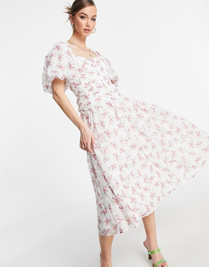 ASOS DESIGN broderie cupped midi skater dress in floral print