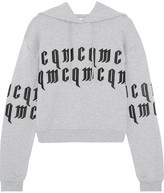 McQ Appliquéd Cropped Cotton-jersey Hooded Top - Gray