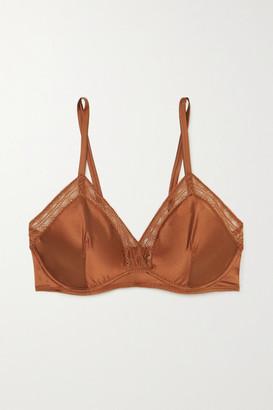 Eres Bourdon Lace-trimmed Silk-blend Satin Underwired Triangle Bra - Bronze