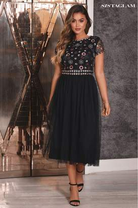 Womens Sistaglam Skater Prom 2 In 1 Midi Dress With Floral Beaded Top - Black