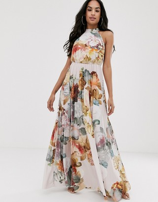 Asos DESIGN halter pleated waisted maxi dress in floral print