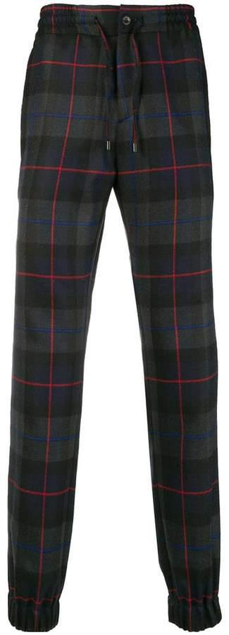 Etro tartan pattern loose fit trousers