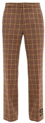 Gucci Orgasmique Wool-blend Houndstooth Trousers - Brown Multi