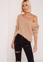 Missguided Ophelita Off Shoulder Knit Sweater Pink