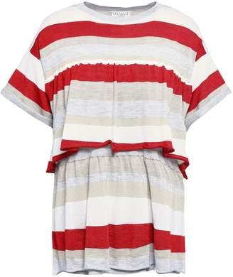 Brunello Cucinelli Layered Striped Cashmere-blend Top