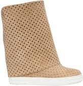 Casadei 80mm Stars Perforated Suede Wedge Boots