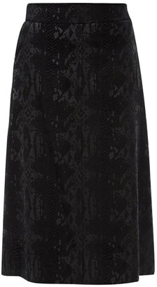 Saint Laurent Scale-devore Velvet Midi Skirt - Black