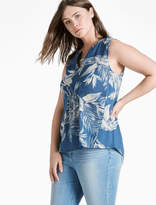 Lucky Brand Printed Gauze Mixed Top