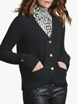 Pure Collection Wool Blend Gold Button Cardigan