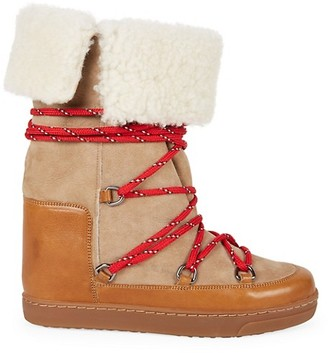 Isabel Marant Nowly Shearling-Lined Suede Leather Snow Boots