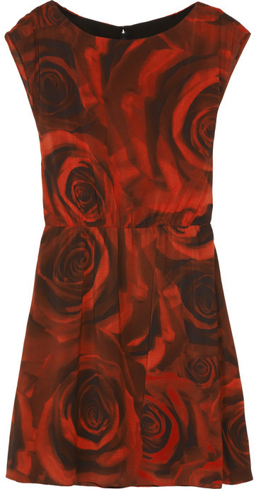 Alice + Olivia Corwin rose-print stretch-silk dress