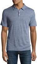 Zachary Prell Calluna Tonal-Colorblock Linen Polo Shirt