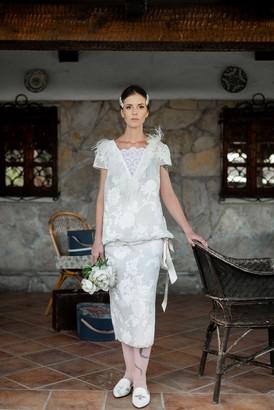 STUDIO 8360 - Bridal Dress - white linen | 38/40 - White linen