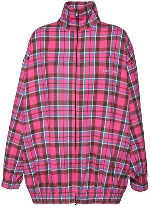 Balenciaga Over Check Cotton Zip Jacket