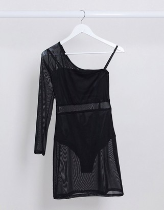 I SAW IT FIRST mesh one shouldered dress in black