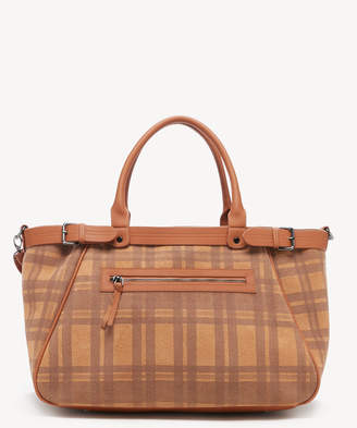 Sole Society Women's Medina Weekender Fabric In Color: Camel Combo Bag Vegan Leather Fabric From
