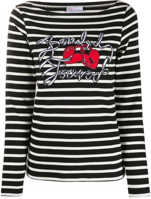 RED Valentino Bonded Forever striped T-shirt