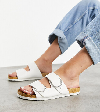 ASOS DESIGN Wide Fit Fewer double strap buckle sandals in white