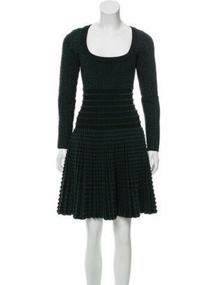 Alaia Scoop Neck Mini Dress Green
