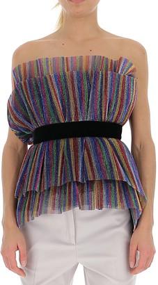 ATTICO Strapless Striped Layered Top