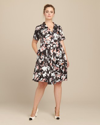 Jason Wu Collection Floral Print Cotton Short Sleeve Day Dress