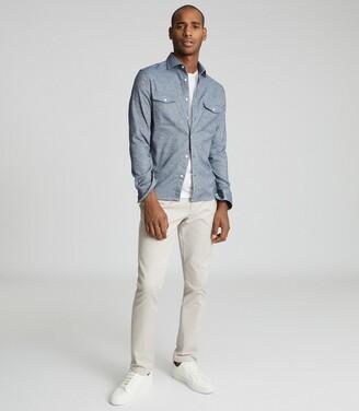 Reiss Duke - Twin Pocket Overshirt in Indigo Melange