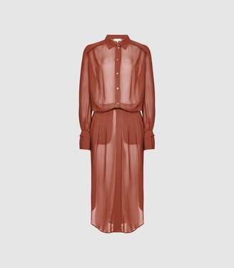 Reiss Myla - Longline Sheer Shirt Dress in Rust