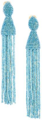 Oscar de la Renta Long Beaded Tassel Clip-On Earrings