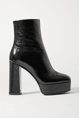 Giuseppe Zanotti Rullino Crinkled Patent-leather Platform Ankle Boots - Black