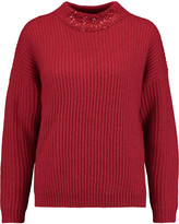 DKNY Embellished ribbed-knit sweater