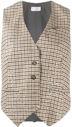 Brunello Cucinelli Check Fitted Waistcoat