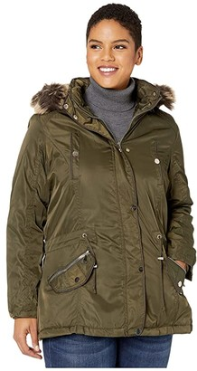YMI Snobbish Plus Size Faux Fur Lined Parka with Faux Fur Trim Hood (Olive) Women's Clothing