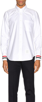 Thom Browne Classic Point Collar Button Up Shirt in White | FWRD