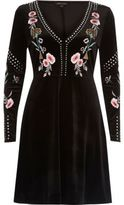 River Island Womens Black stud embroidered skater dress