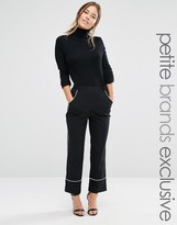 Alter Petite Cropped Pajama Pant With Contrast Piping