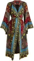 Etro Jungle-print tie-waist silk-chiffon coat