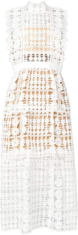 Self-Portrait crochet-lace midi dress