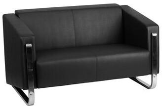 Orren Ellis Orren Ellis Contemporary Black Leather Loveseat With Stainless Steel Frame Orren Ellis
