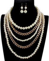 Ella & Elly Women's Earrings White - Imitation Pearl & Goldtone Chain Statement Necklace & Earrings Set