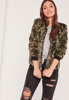 Missguided Green Faux Fur Bomber Jacket