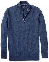 Charles Tyrwhitt Indigo Cotton Cashmere Zip Neck Jumper Size XXXL
